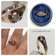 This a sweet Old Mine Cut diamond set in a rosy c1890 14k gold ring. $695. Call to purchase. #giltjewelry #victorian #oldminecut #antique #antiquering #antiquediamond #engagement #wedding #ido #heirloom