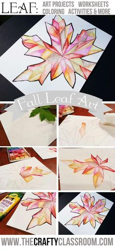 Fall Leaf Art Project. Great for the beginning of the year or when studying seasons. #artcraft Fall Art Projects, School Art Projects, Thanksgiving Art Projects, Halloween Art Projects, Class Projects, Diy Pinterest, 6th Grade Art, Ecole Art, Art Lessons Elementary