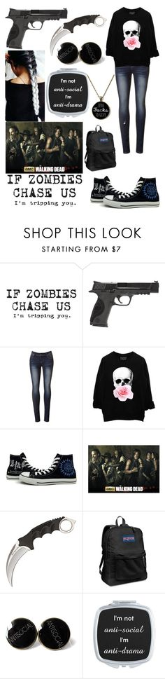 """""""the walking dead oc"""" by nightmare-reaper ❤ liked on Polyvore featuring Smith & Wesson, Converse, JanSport, women's clothing, women's fashion, women, female, woman, misses and juniors"""