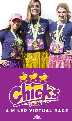 Our latest spring Virtual Race is our Chicks On A Run 4-miler! Get your favorite girls together for a fun spring activity and way to really stay motivated and active! With the option to add fun accessories, the fun will never end with this adorable Virtual Race!