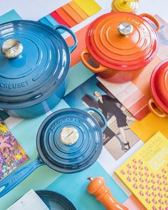 Le Creuset Colors: Deep Teal, Nectar and Flame. 🌈 Which hue is at the top of your wish list this year? 📸: Instagram @splendid_rags Le Creuset Colors, From Farm To Table, Deep Teal, Bold Colors, Hue, Mosaic, It Cast, Instagram, Vivid Colors