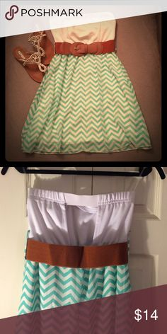 Rue21 Strapless Dress Rue21 Strapless Chevron Dress. Mint and White Chevron pattern, with removable belt. Back has cute cutout for some added detail to make the dress standout. Worn for only a few hours, in great condition. Rue 21 Dresses Strapless