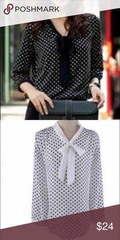 Dot bow knot chiffon blouse long sleeve loose shirt blouse. Size small. Bust 32-34 waist 23-25 hips 34-36 Tops Blouses
