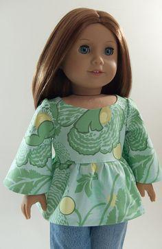 Ruffled 1970s Style Tunic 18 American Girl Doll Shirt by PattiKuz
