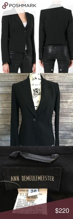 "Ann Demeulemeester one button blazer EUC. No holes or stains. Dry cleaned. Classic one button blazer from Ann Demeulemeester . European size 36"". US size 4. Viscose /Wool Ann Demeulemeester Jackets & Coats Blazers"