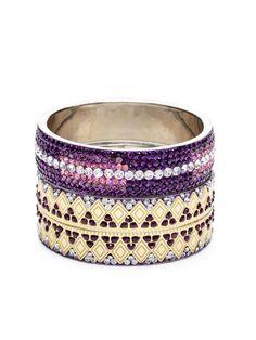 Set of 2 Purple Crystal & Gold Bangle Bracelets by Chamak by Priya Kakkar on Gilt.com