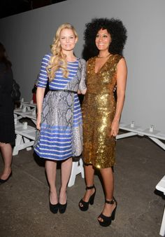 Jennifer Morrison and Tracee Ellis Ross attend the Tracy Reese fashion show during Mercedes-Benz Fashion Week Spring 2015 at Art Beam on September 7, 2014 in New York City.