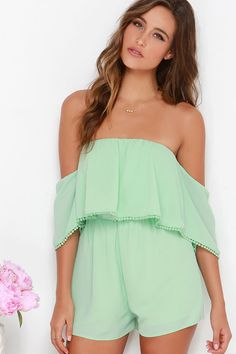 Breezy on the Eyes Mint Green Off-the-Shoulder Romper at Lulus.com!