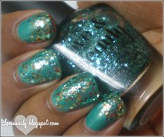 Glitter Layering with Zoya- Zuza, Love & Beauty- Turquoise, and Milani- Gold