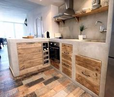 48 The Best Interior Design of a Wooden Kitchen Concrete Kitchen, Wooden Kitchen, Rustic Kitchen, Kitchen Decor, Rustic Farmhouse, Concrete Counter, Best Interior Design, Interior Design Kitchen, Kitchen Sets