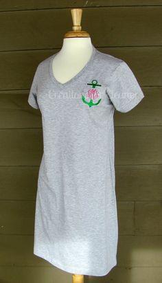 Women's Monogrammed Tshirt Dress by creationsforeleanor on Etsy, $30.00. Pink dress, navy/white mono.