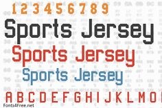 Sports Jersey font is a fancy, old-school font designed by Arthur Lui. Sports Jersey font is free for both personel and commercial usages. Old School Fonts, Jersey Font, Sports Fonts, Crafty