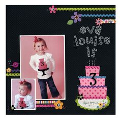 scrapebook layouts for birthdays | ... Ideas » Scrapbook Layouts » ***Birthday Cake Flower Layout Doodlebug