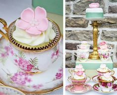 Vintage with a modern twist. Use cup and saucer sets for serving cupcakes on a dessert table.