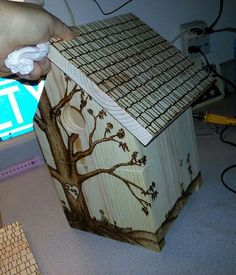 pyrography on bird house.. another view