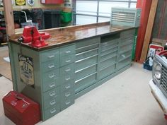 """""""What I did with my $40 Home Depot Tool Cabinets"""" - The Garage Journal Board -- Would make great craft storage, with that great standing work counter on top"""