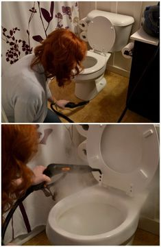 using a steamer to clean a toilet (moms of boys, you know what I mean!)