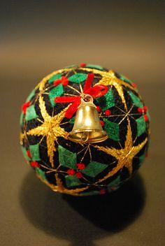 Christmas temari with little brass bell