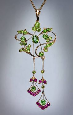 Art Nouveau Russian Demantoid Ruby Gold Pendant | From a unique collection of vintage drop necklaces at https://www.1stdibs.com/jewelry/necklaces/drop-necklaces/