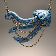 Jumping Jellyfish Necklace - Hand-sculpted, Polymer Clay, OOAK. $30.00, via Etsy.