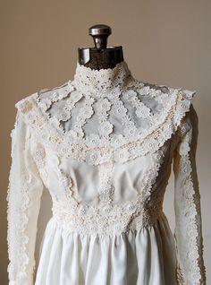 Vintage Wedding Dress Bridal Gown Small. $199.00, via Etsy.