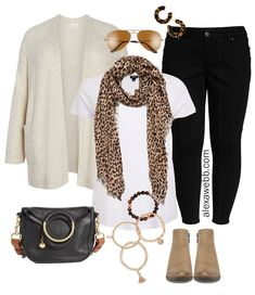 Neutrals are an easy way to look casual but sophisticated. Mix wardrobe basics like a an oatmeal cardigan white tee and black jeans with a few key accessories like a leopard scarf and tortoise earrings to make a simple outfit into something unique Plus Size Black Jeans, Look Plus Size, Jeans Size, Mode Outfits, Jean Outfits, Fashion Outfits, Womens Fashion, Style Fashion, Fashion Basics