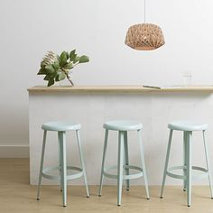 Inspire a tropical-fresh feel in your home with the uplifting colour of the steel McKenna Blue Bar Stool from Zanui. Kitchen Stools, Bar Stools, Paint Colors For Living Room, Beautiful Interiors, Decoration, Interior Design Living Room, Home Kitchens, Room Decor, House Design