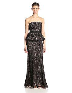 cool Adrianna Papell Women's Strapless Lace Gown with Peplum -Strapless lace gown Peplum gown Built in bra cups -http://weddingdressesusa.com/product/adrianna-papell-womens-strapless-lace-gown-with-peplum/