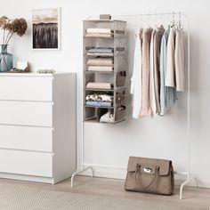 IKEA - STORSTABBE, Hanging storage with 7 compartments, beige, Storage pockets on the sides gives you even more room for small items. Combines with other products in the STORSTABBE series. Can be used in moist areas. Hanging Clothes Organizer, Hanging Storage, Small Storage, Small Apartment Storage, Closet Storage, Bedroom Storage, Closet Organization, Bedroom Decor, Bedroom Ideas