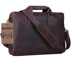 Leather Briefcase,Berchirly Men¡¯s Premium Retro Laptop Messenger Bag Carrying Handbag Tote for Men Fits 15 Inch Laptop w/ Soft Leather Shoulder Strap