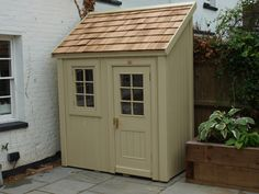 A bespoke Potting Shed with cedar shingle roof and - Modern Cedar Shed, Cedar Roof, Cedar Shingles, Outdoor Buildings, Garden Buildings, Backyard Sheds, Outdoor Sheds, Small Outdoor Shed, Petits Hangars