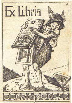Ex Libris Oscar Porges. From an illustration on the front cover of a Pre-WWII Book Catalog. Book Plate. Boy. Winged Helmet (Reference to Hermes/Mercury? god of trade & travel - book seller/delivery?), Overladen with Books.
