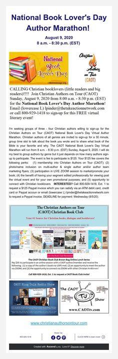 National Book Lover's Day Author Marathon! Lovers Day, Book Lovers, August 9, Day Tours, Marathon, Authors, Christian, Books, Livros