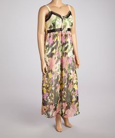 Look what I found on #zulily! Green & Pink Floral Sleeveless Maxi Dress - Women #zulilyfinds