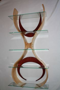 Handmade curved wood and tempered glass shelves.   Title: Peace Sign by WarpedMindDesigns on Etsy https://www.etsy.com/listing/212345568/handmade-curved-wood-and-tempered-glass