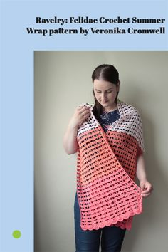 Beautiful summer shawl worked in gorgeously light Rowan summerlite 4-ply yarn. The pattern consist of easy 2 row repeat with border on each end. Easy Beginner Crochet Patterns, Basic Crochet Stitches, Crochet For Beginners, Easy Crochet, Free Crochet, Coral Blush, Summer Wraps, 4 Ply Yarn, Wrap Pattern