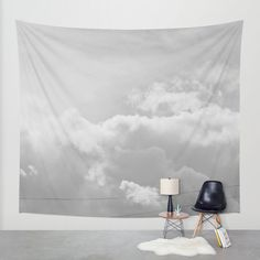 SALE Sky Wall Tapestry. Home Decor. Large Size Wall Art. Photo tapestry, dreamy tapestry decor abstract nursery gray white clouds photo