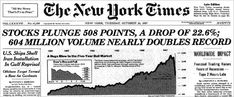 """The STOCK MARKET CRASH OF 1987 or """"BLACK MONDAY"""" was the largest one-day market crash in history. The Dow lost 22.6% of its value or $500 billion dollars on October 19th 1987.  1986 and 1987 were banner years for the stock market fueled by low interest rates, hostile takeovers, leveraged buyouts and merger mania. . . .  After the '87 crash, a system of circuit breakers were put in place to electronically halt stocks from trading if they fell too quickly."""