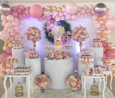 pink and white balloon decorations for baby shower