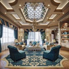 luxury Mansion Interior in Dubai By Taher Design Studio Mansion Interior, Luxury Homes Interior, Luxury Home Decor, Room Interior, Mansion Bedroom, Country Interior, Luxury Apartments, Interior Paint, Design Living Room
