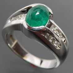 14K WHITE GOLD 1.57 CTW EMERALD CABOCHON 0.44 CTW DIAMONDS BYPASS COCKTAIL RING - SIZE 6.75 – Gold Stream Boutique