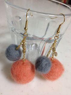 felt ball earrings