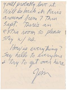 Rare 1971 Jim Morrison Letter Up for Auction