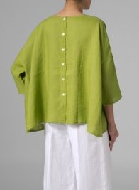 Linen Dropped Shoulder Long Top - Citron Green