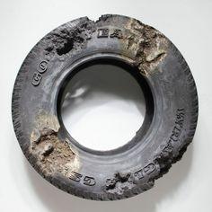 """Daniel Arsham -""""Steel Eroded Tire"""" Sculpture"""