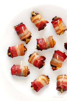 3-Ingredient Bacon-Wrapped Dates- This incredibly simple sweet and savory appetizer is always a hit at any gathering!