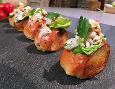 This stunning, seasonal baby lobster roll recipe was created by the old Kai Kani. Lobster Roll Recipes, Seafood Recipes, Appetizer Recipes, Lobster Appetizers, 1st Birthday Foods, Salmon Roll, Bite Size Food, Finger Sandwiches, Lobster Tails