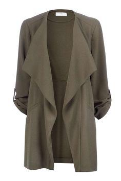 Petite Khaki Crepe Jacket - Jackets & Blazers - Clothing - Wallis