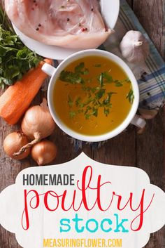 Discover an amazingly delicious, tried and true recipe for homemade poultry stock. Also known as bone broth, this is necessary for optimal cooking & health! Paleo Recipes, Paleo Food, Bone Broth, Poultry, Homemade, Meat, Chicken, Flower, Cooking