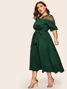 Plus Contrast Mesh Knot Cuff Belted Dress – GaGodeal Plus Size Dresses, Dresses For Sale, Dresses Online, Half Sleeve Dresses, Lace Dress With Sleeves, Neon Yellow Dresses, Curvy Dress, Knot Dress, Overall Dress